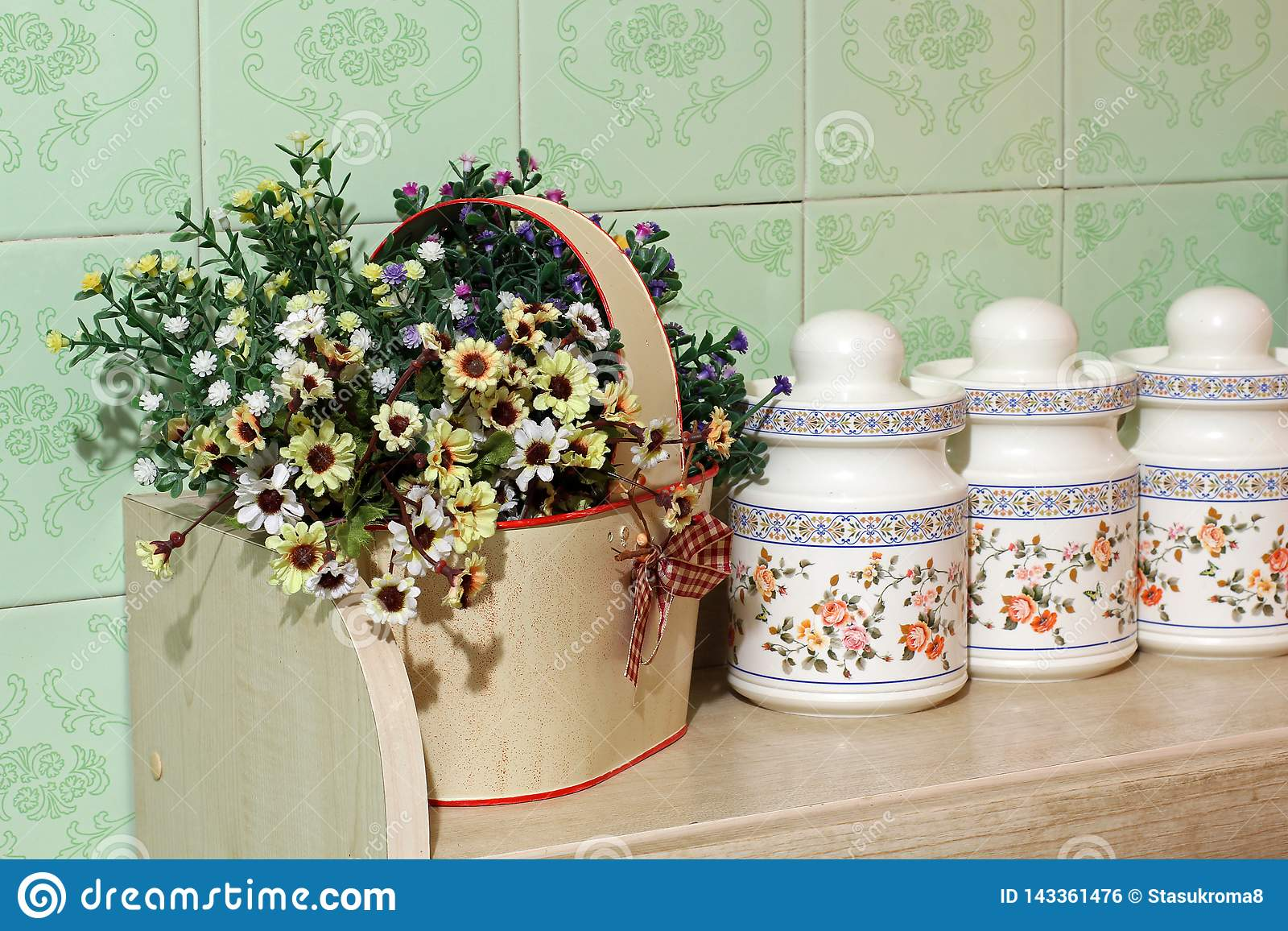 Flores en la cocina Decoración casera