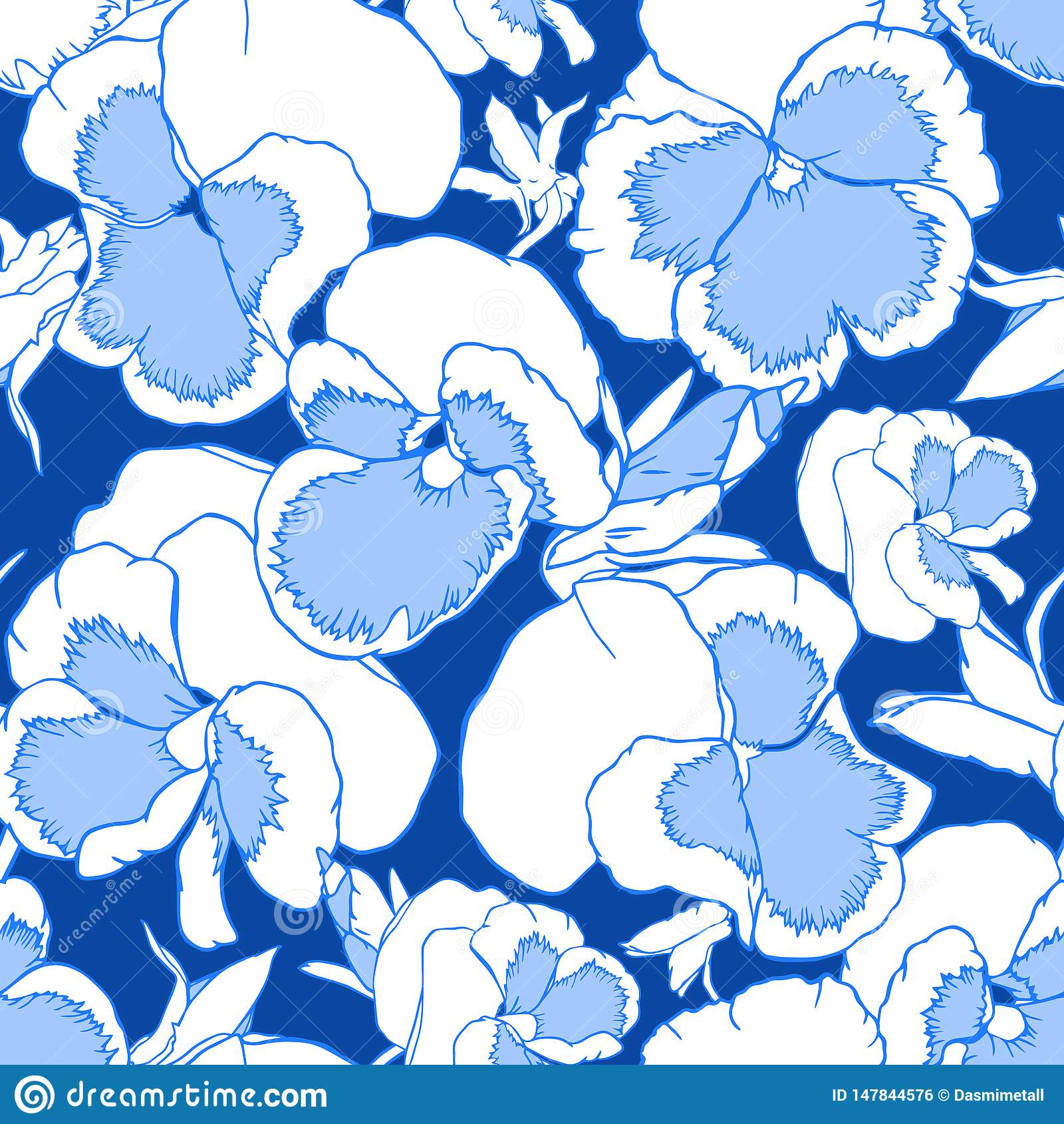 Flores exhaustas del azul de la mano y blancas de la viola en un fondo azul marino Modelo inconsútil para la tela, el papel pinta