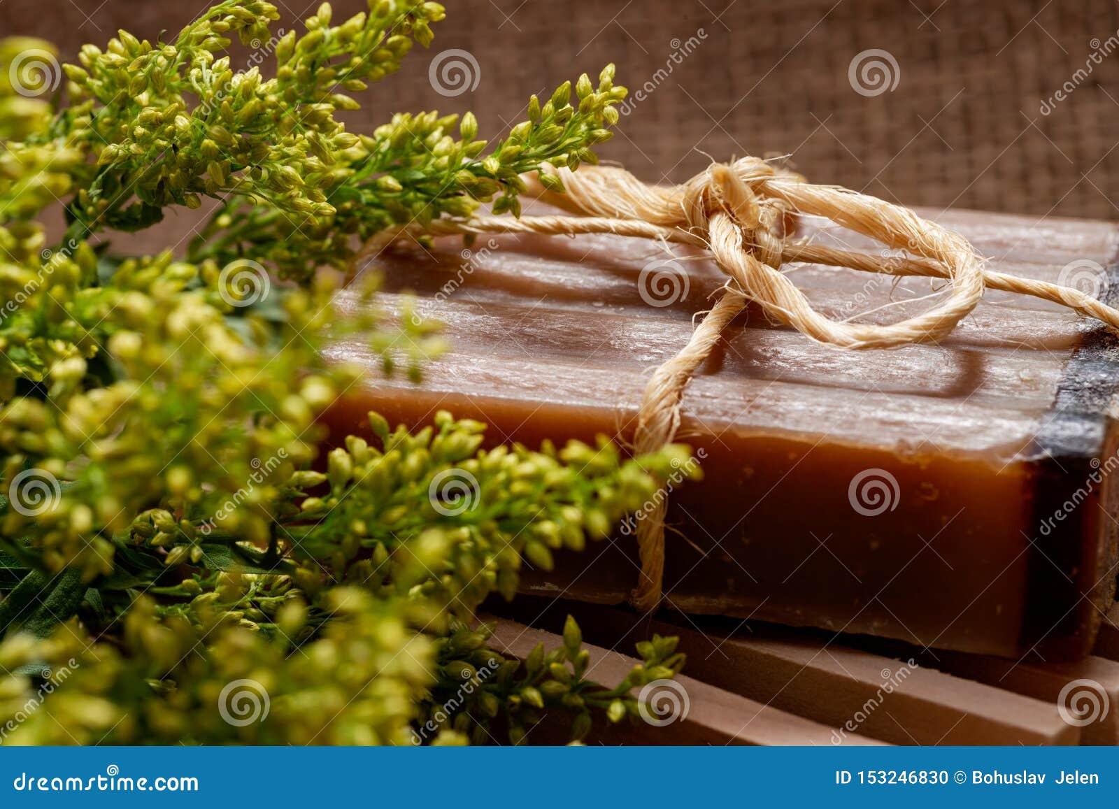 Flores frescas de la solidago del aster, tenedor de madera del jabón e incienso y jabón de barra hechos a mano de la leche de Myr
