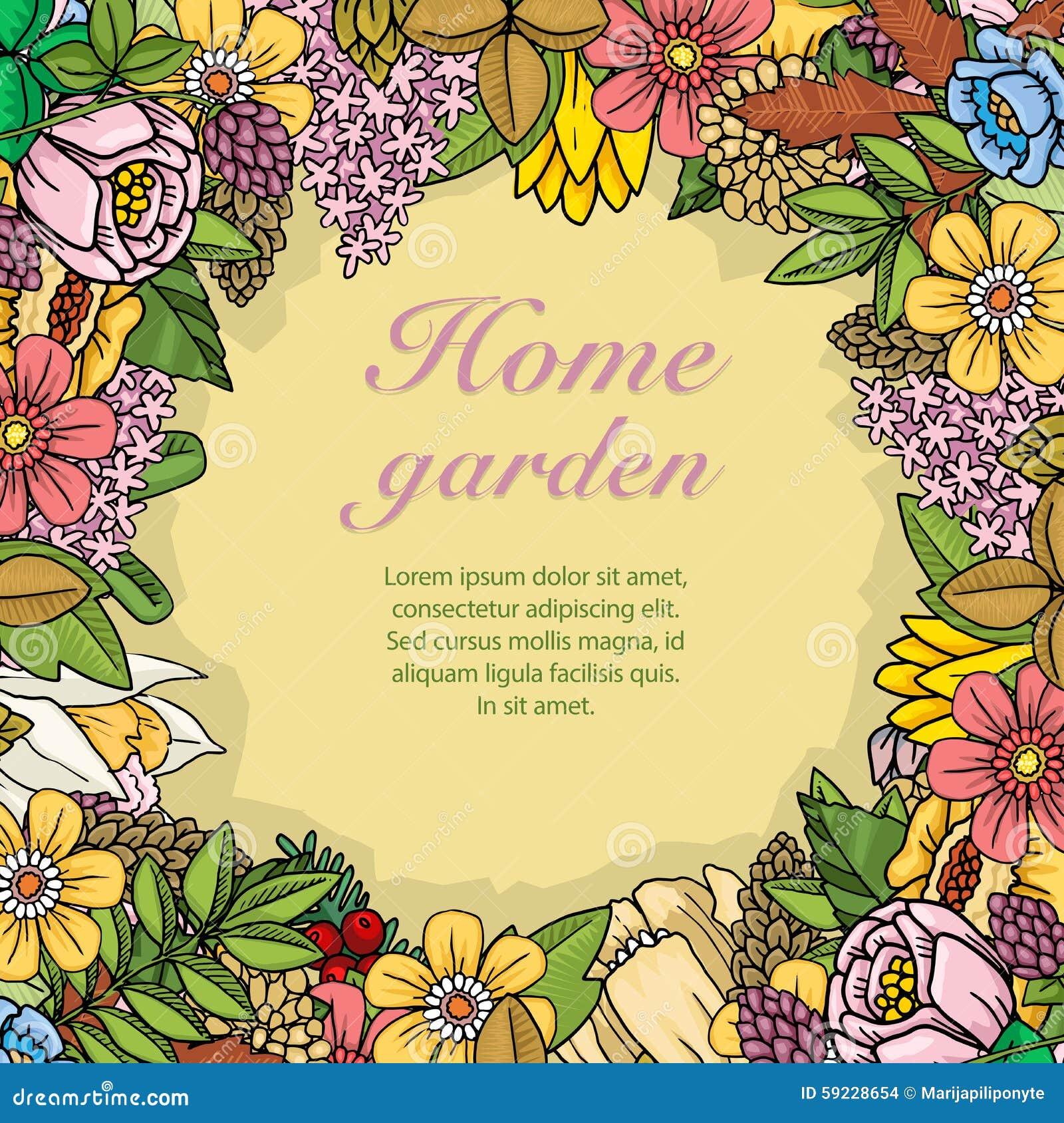 Download Flores, Hojas Y Plantas Al Azar Coloridas Ilustración del Vector - Ilustración de flor, floral: 59228654
