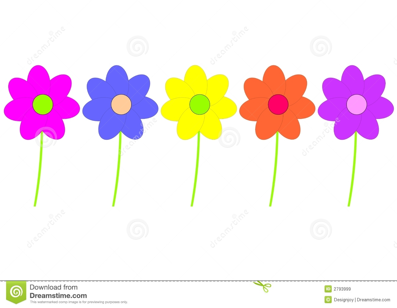 Colorful Flower Drawing Clip Art