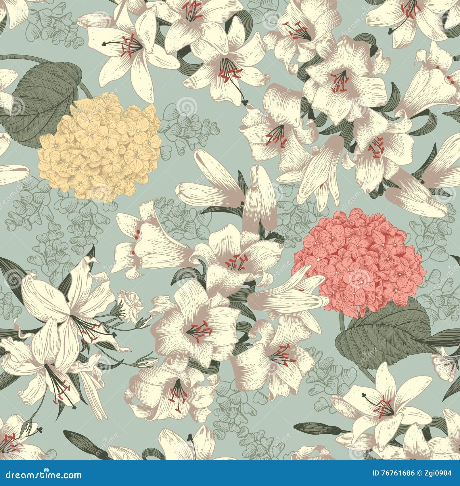 Flores Lirios blancos Fondo inconsútil del vector Modelo floral de la vendimia botánica
