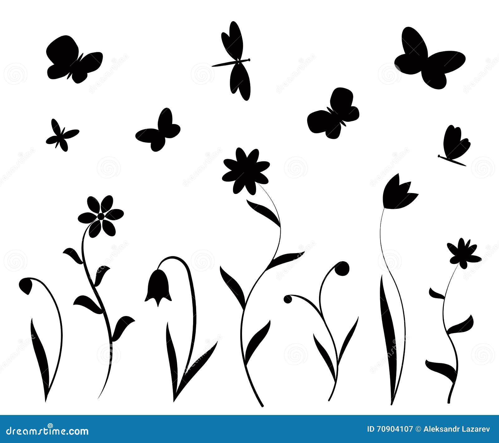 Flores, Mariposas Y Libélulas Negras Ilustración del Vector ...