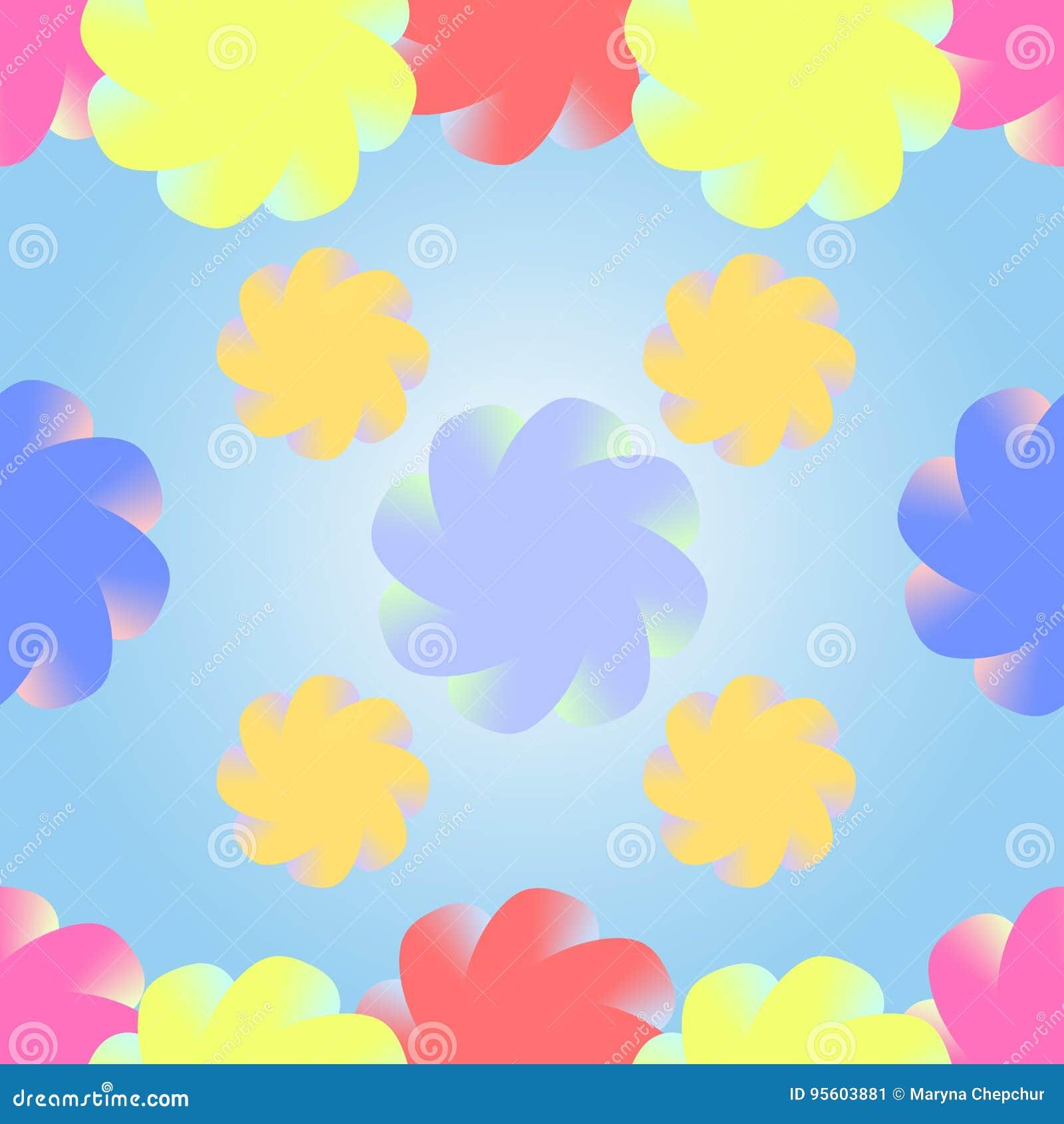 Flores multicoloras estilizadas en un fondo del azul de la pendiente