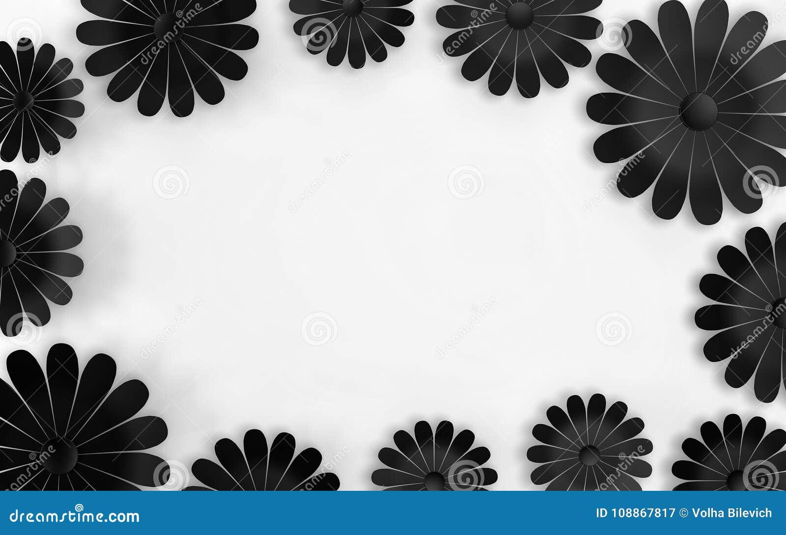 Flores Negras En El Fondo Blanco Elementos Del Diseño Floral 3d