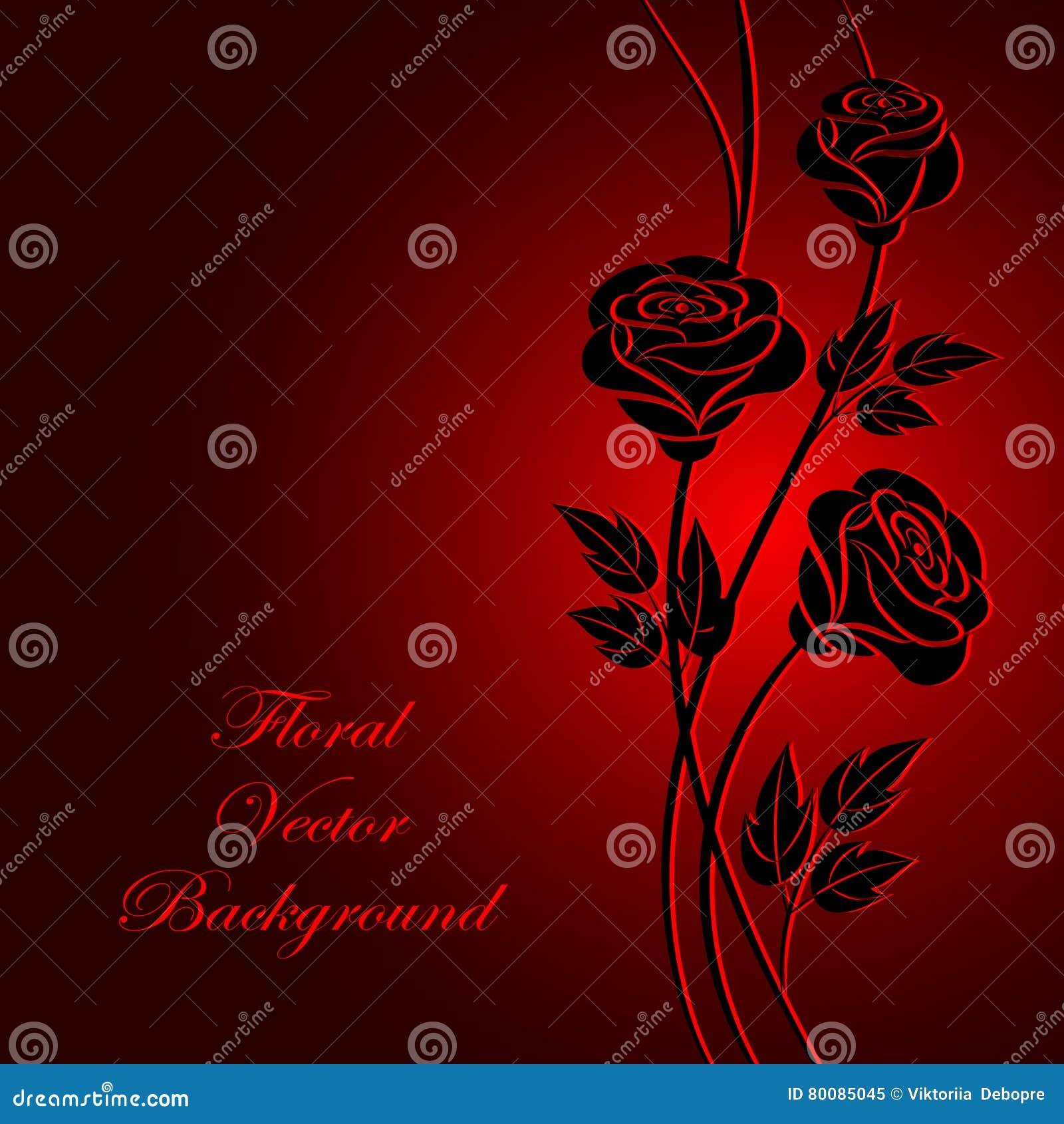 Flores Negras En Fondo Rojo Ilustración Del Vector Ilustración De