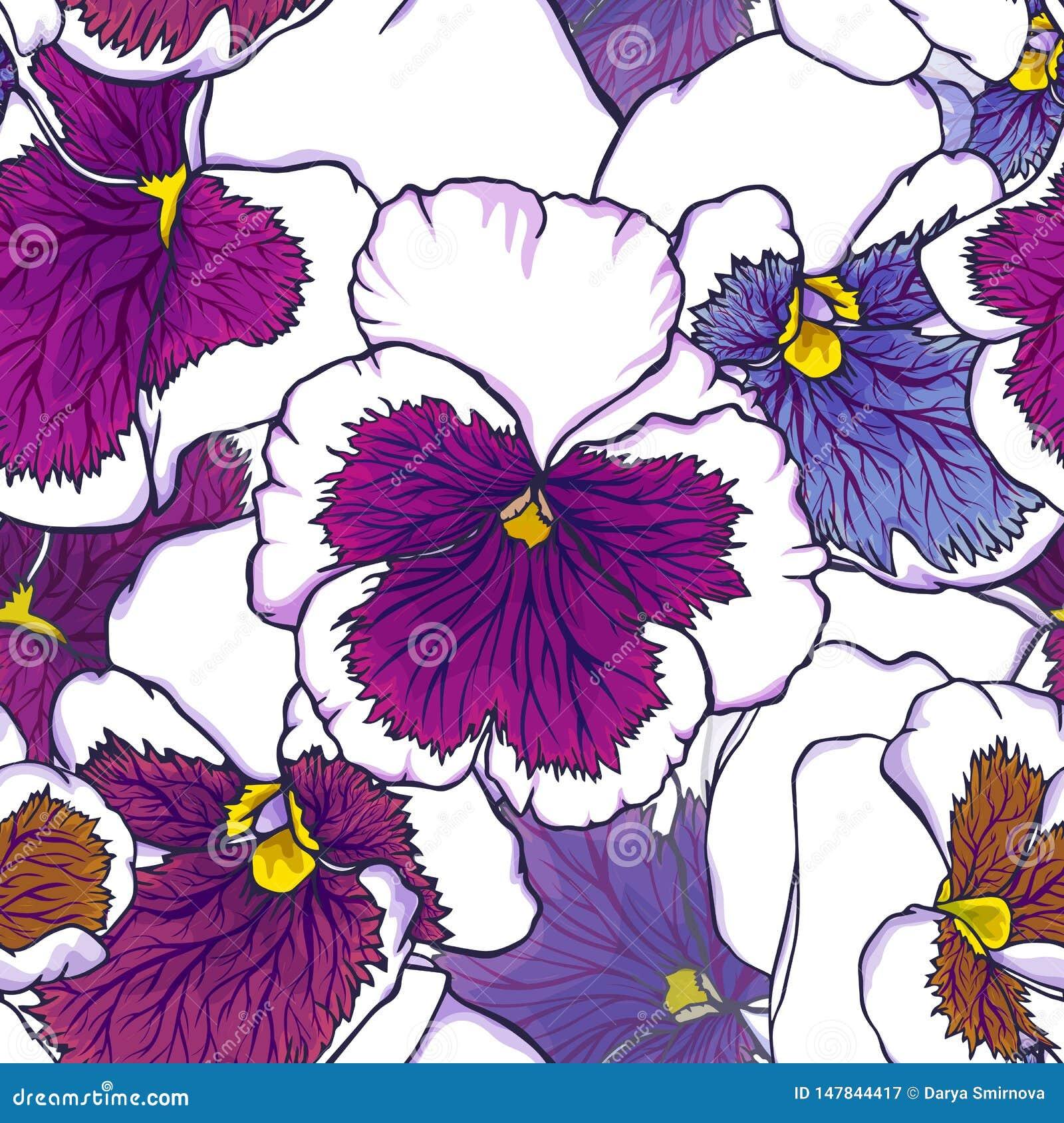 Flores púrpuras de la mano y azules frescas exhaustas de la viola Modelo inconsútil para el diseño de la tela, del papel pintado