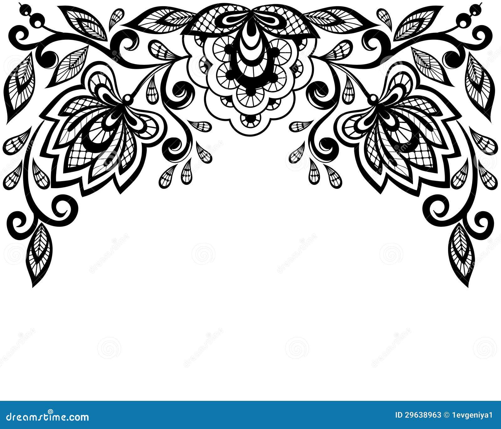 flores preto e branco e folhas do la u00e7o isoladas no branco