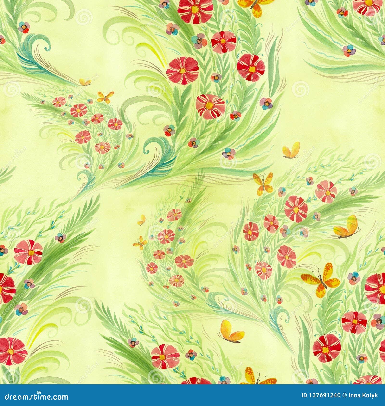 Flores Ramo con las hojas, las flores y los brotes watercolor Modelo inconsútil