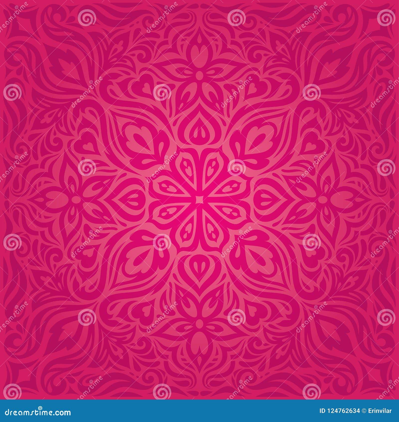Flores rojas, diseño floral decorativo magnífico de la mandala del fondo de la moda