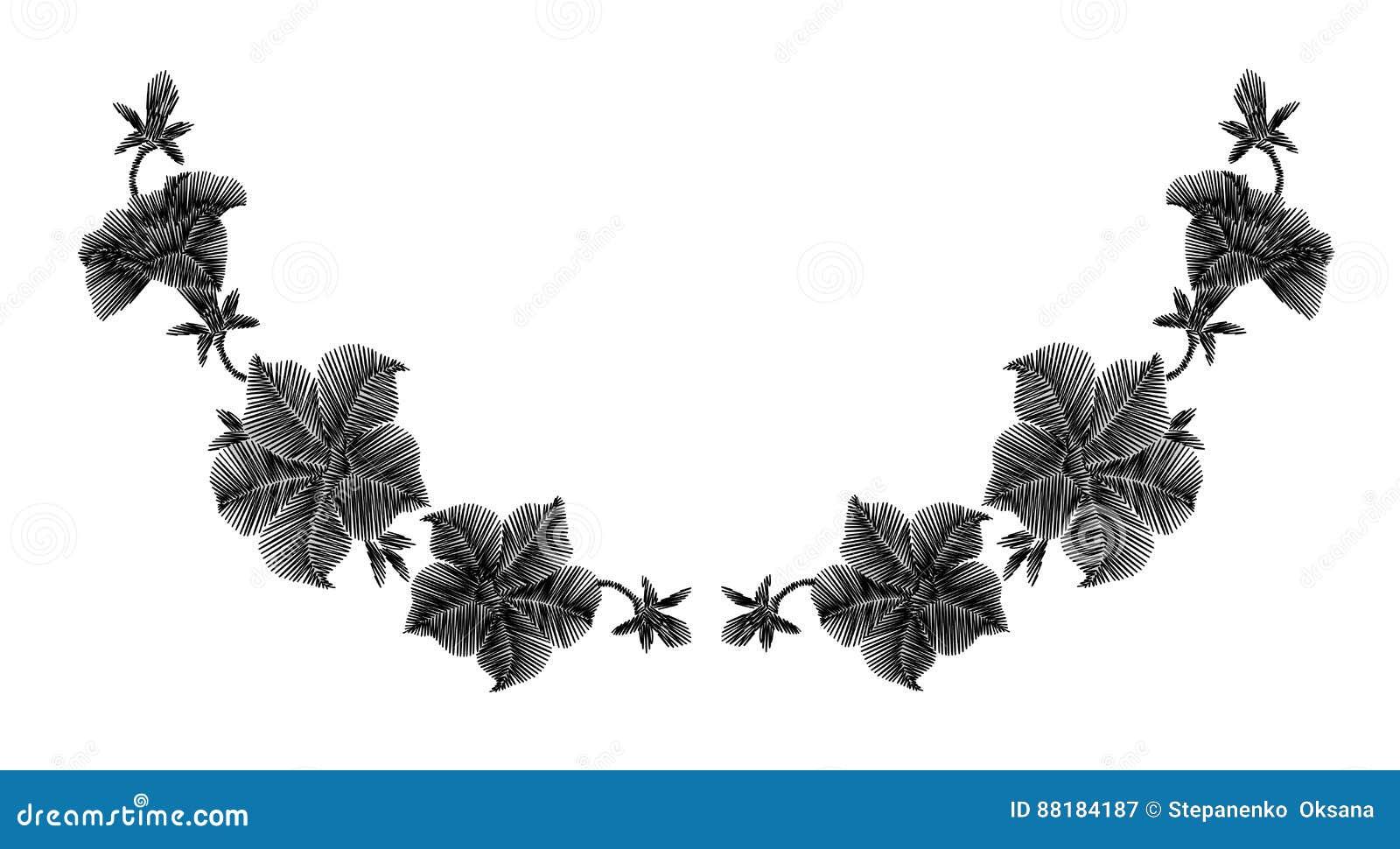 Flores Salvajes Negras Del Bordado En Un Fondo Negro Cordón De ...