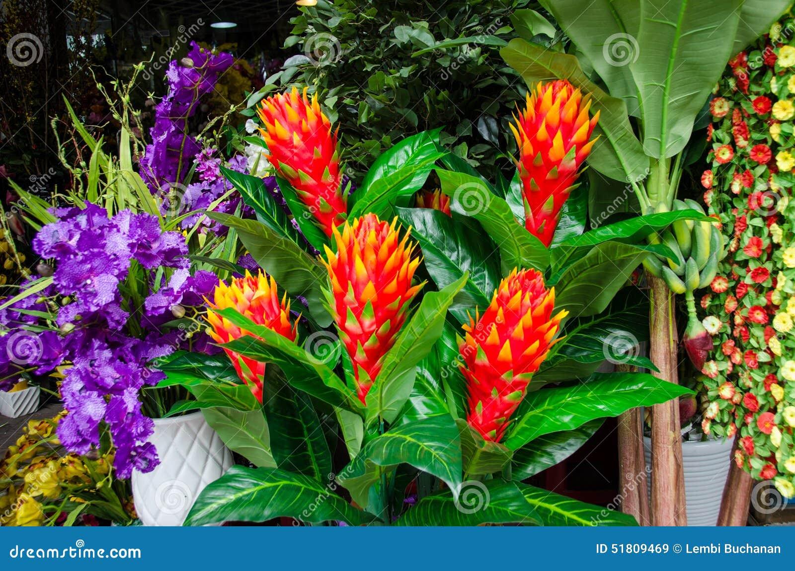 flores tropicais coloridas para a venda em um mercado exterior foto de stock
