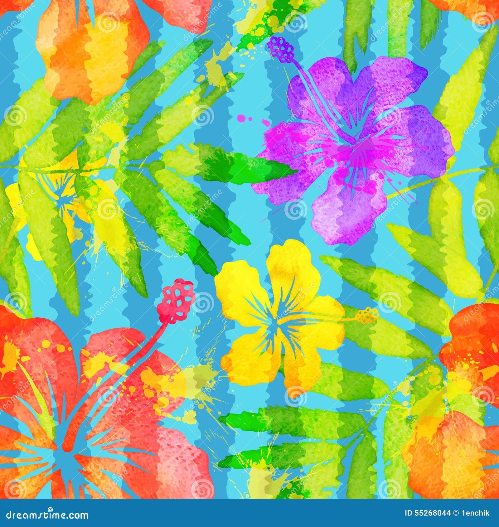 Flores tropicais da aquarela vívida brilhante das cores
