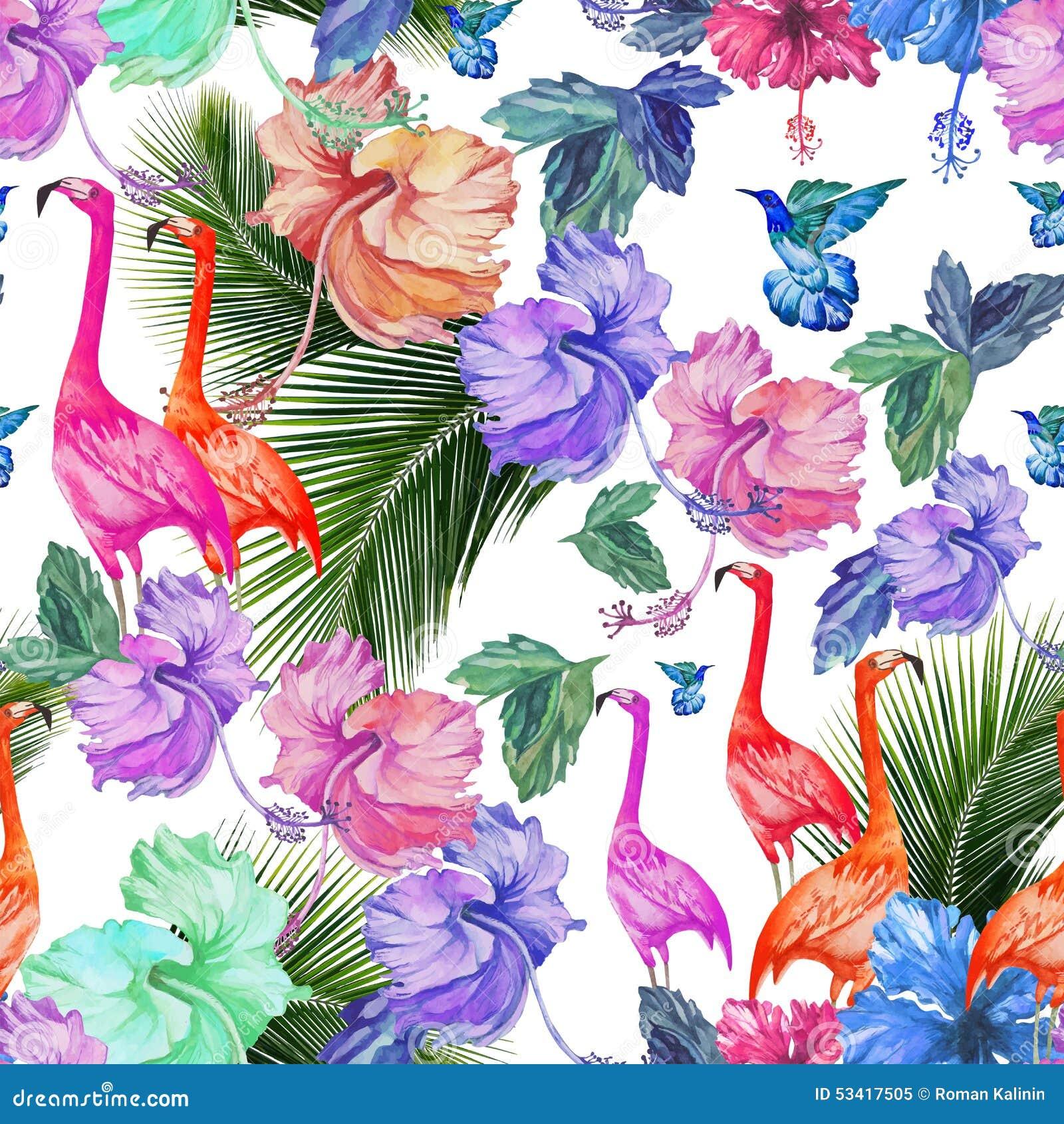 Flores tropicais, palmeira e pássaros da aquarela sem emenda do teste padrão