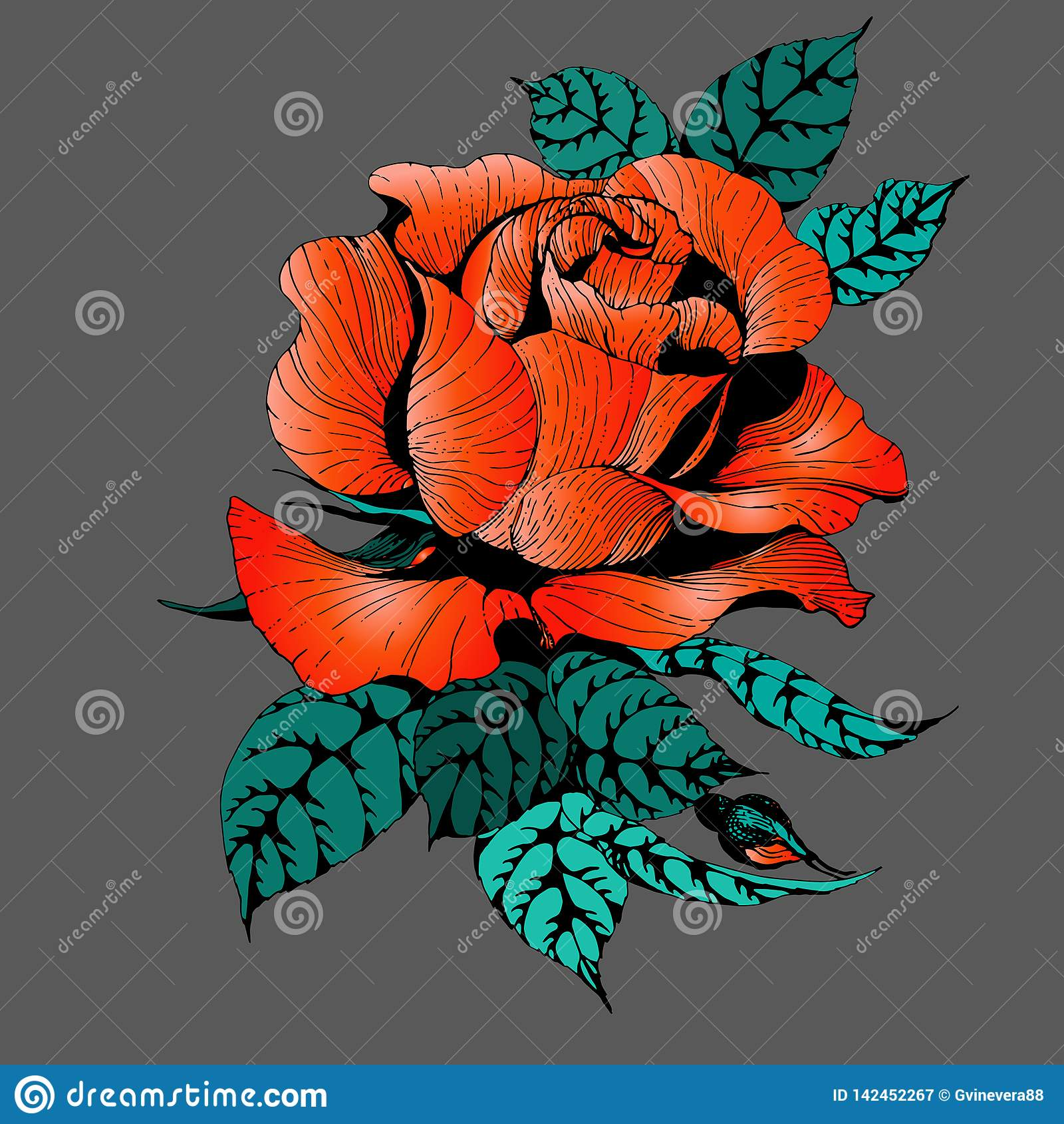 Flores Vector Una rama de rosas con las hojas, las flores y los brotes Collage de flores y de hojas