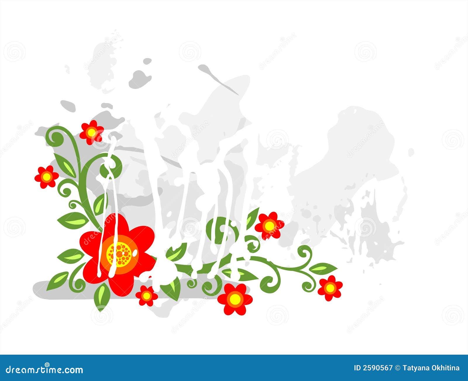 Flores vermelhas do grunge