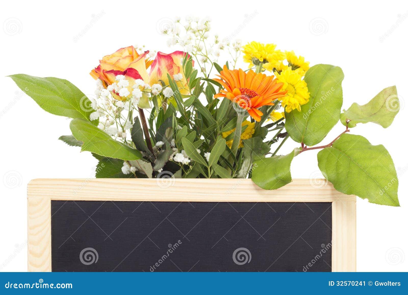 Flores Vernal atrás do quadro-negro vazio