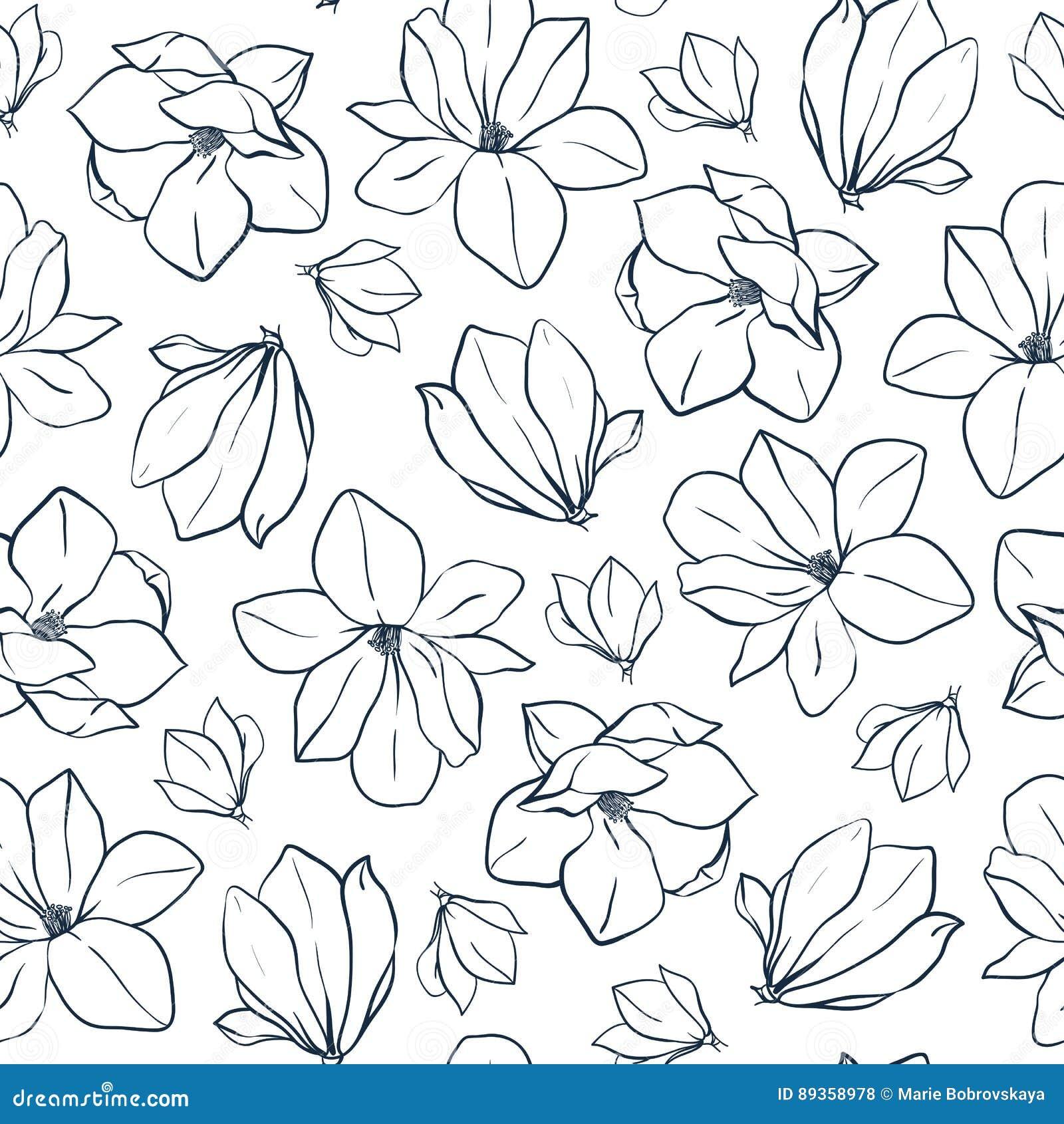 Flores Y Brotes Gráficos De La Magnolia Modelo Inconsútil De La ...