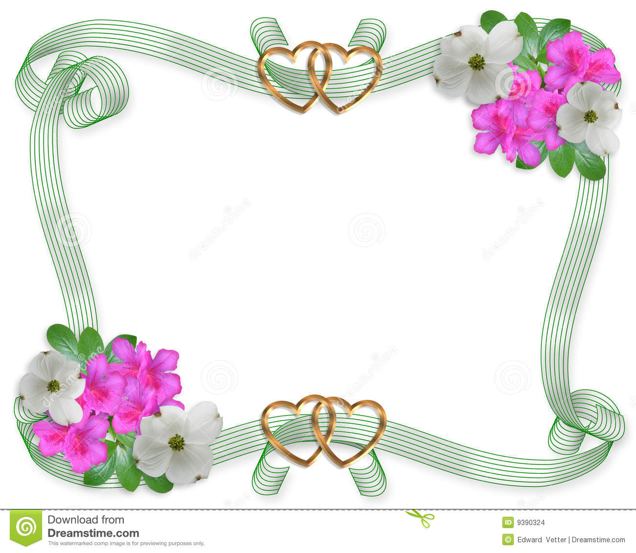 Wedding Border with Flowers and Ribbons