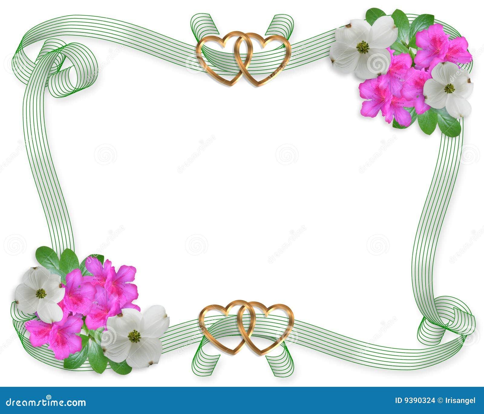 Flores Y Cintas De La Frontera De La Invitación De La Boda Stock de ...
