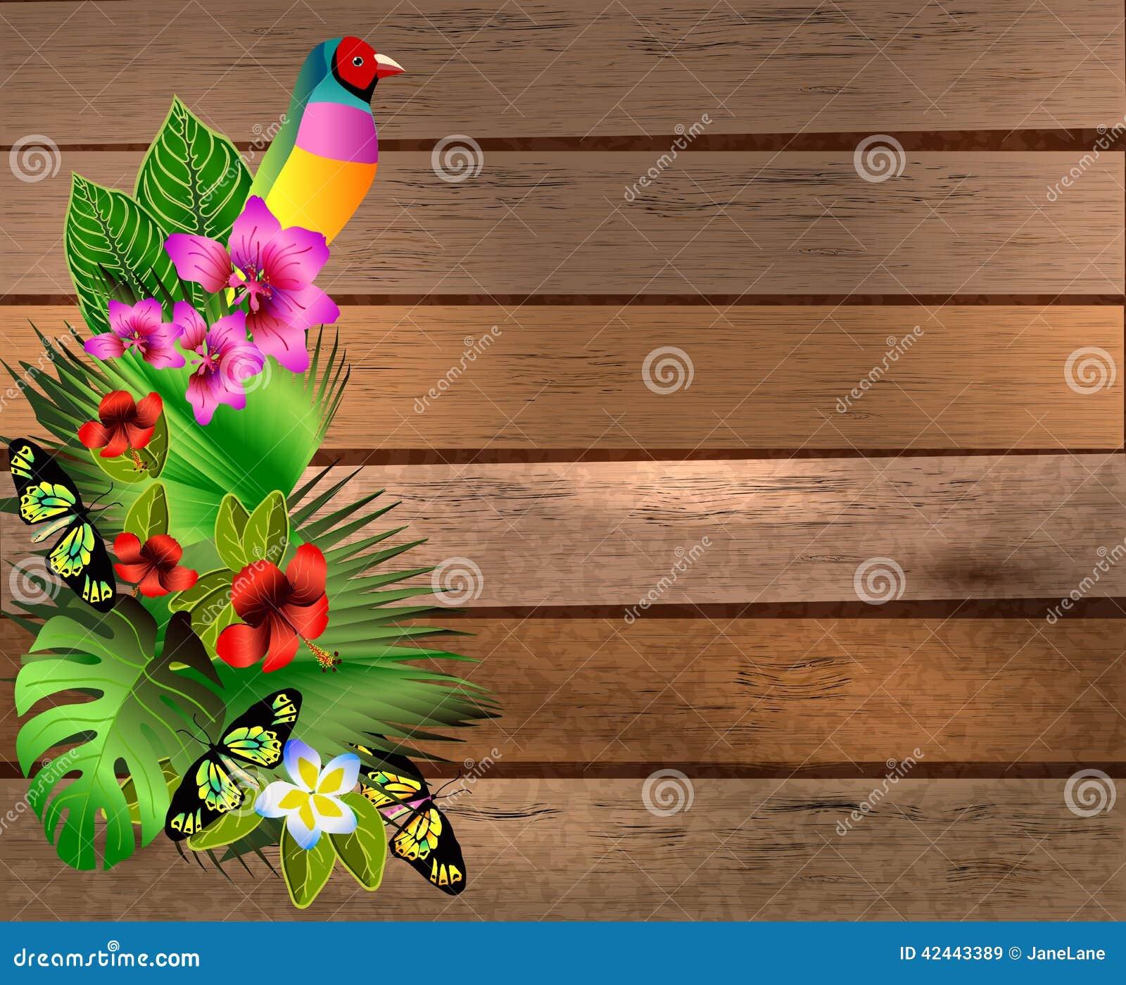 Flores y hojas tropicales y mariposa hermosa sobre la madera, b