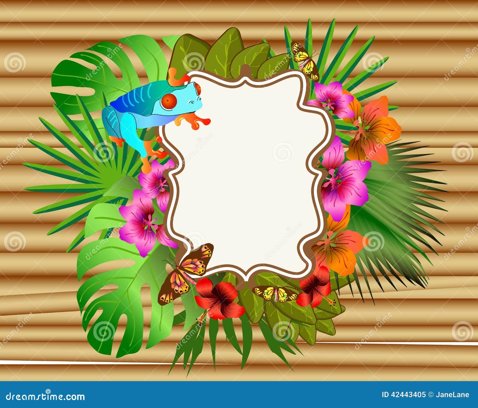 Flores y hojas tropicales y mariposa y rana hermosas, Br
