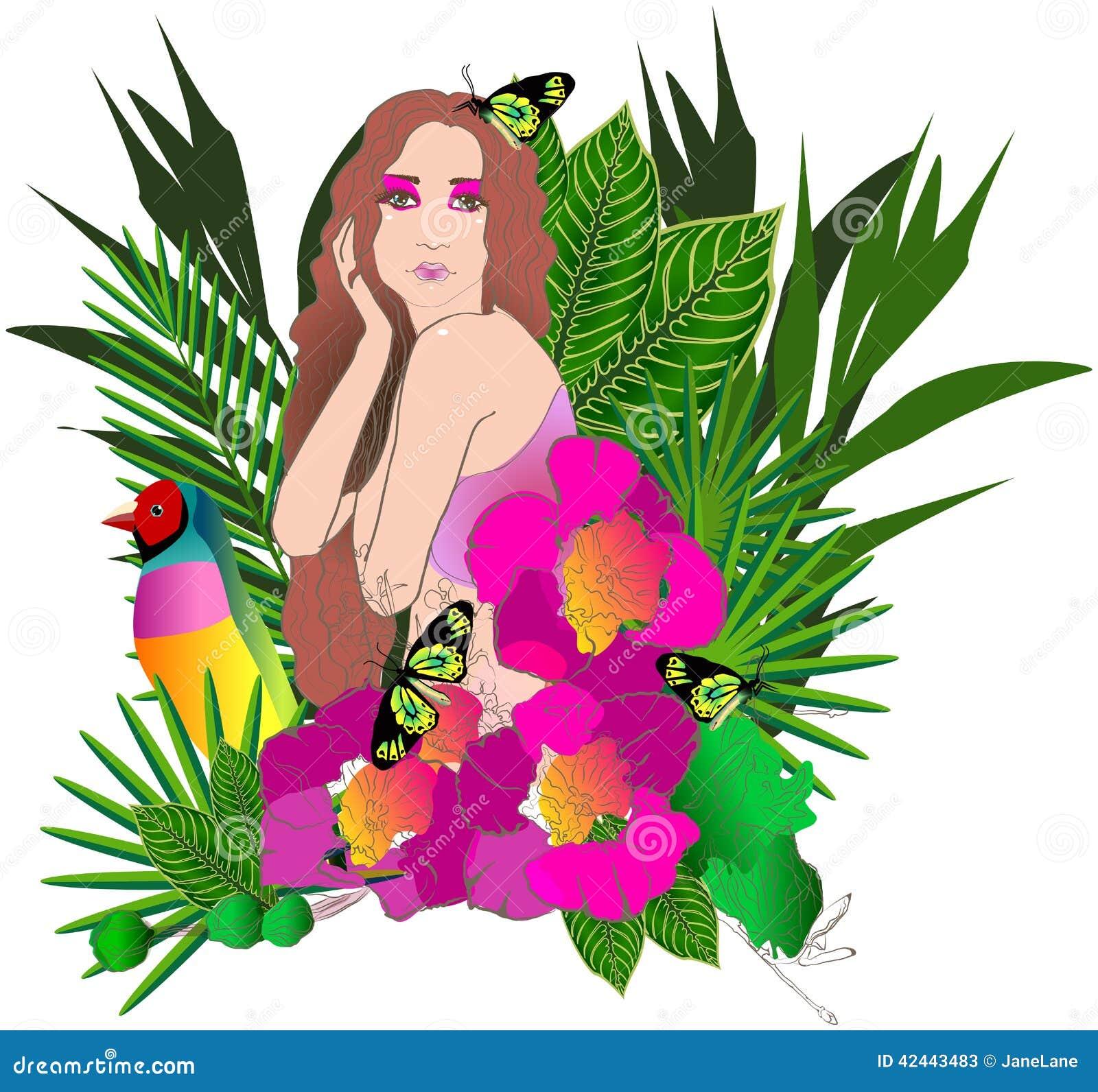 Flores y hojas tropicales y mujer hermosa