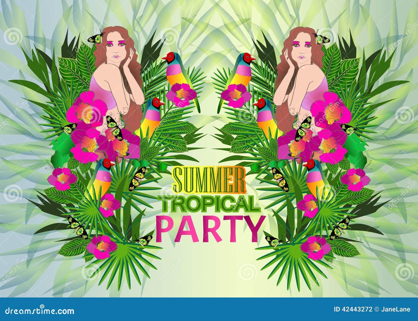 Flores y hojas tropicales y mujer hermosa, cartel brillante