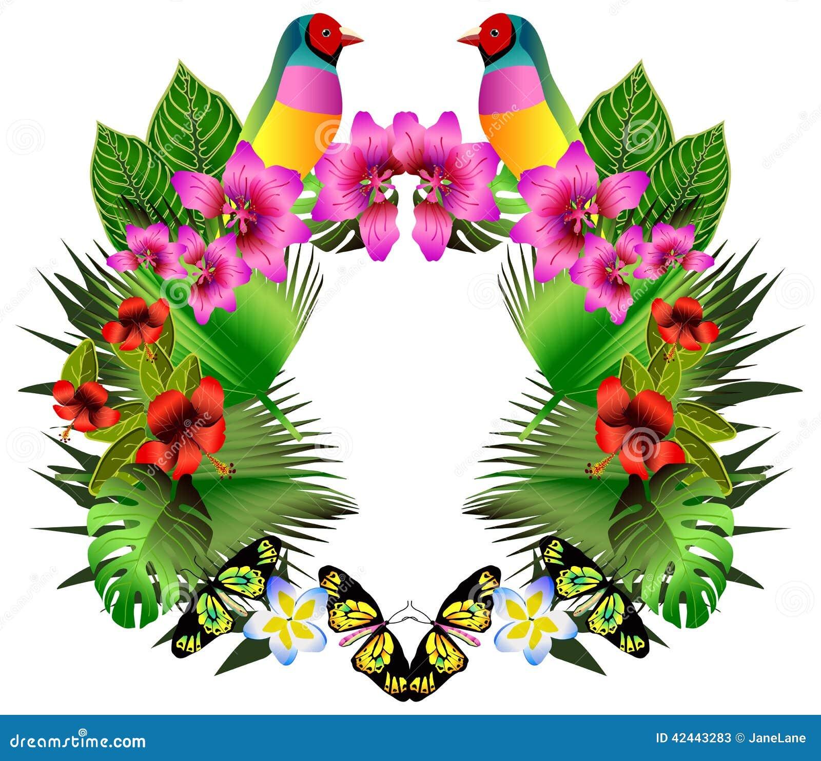 Flores y hojas tropicales y pájaro hermoso, illustrat brillante