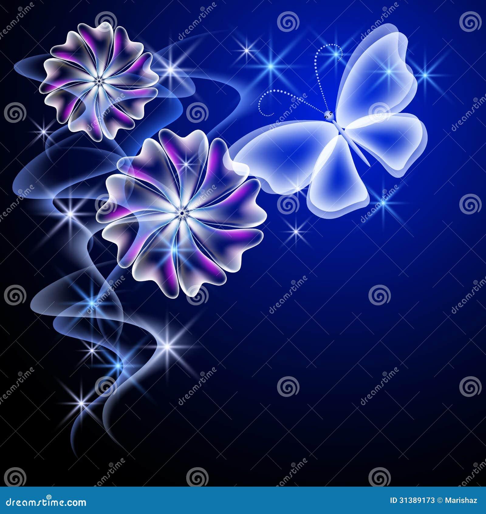 Flores y mariposa que brillan intensamente