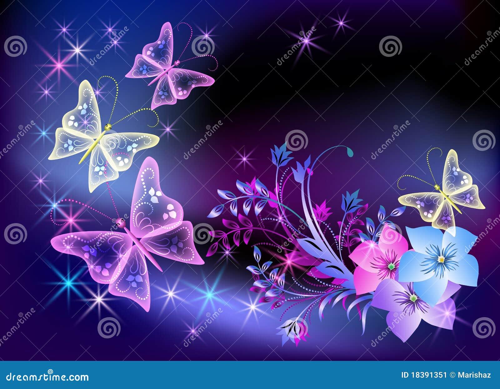 Flores y mariposa transparentes que brillan intensamente Imagen de archivo