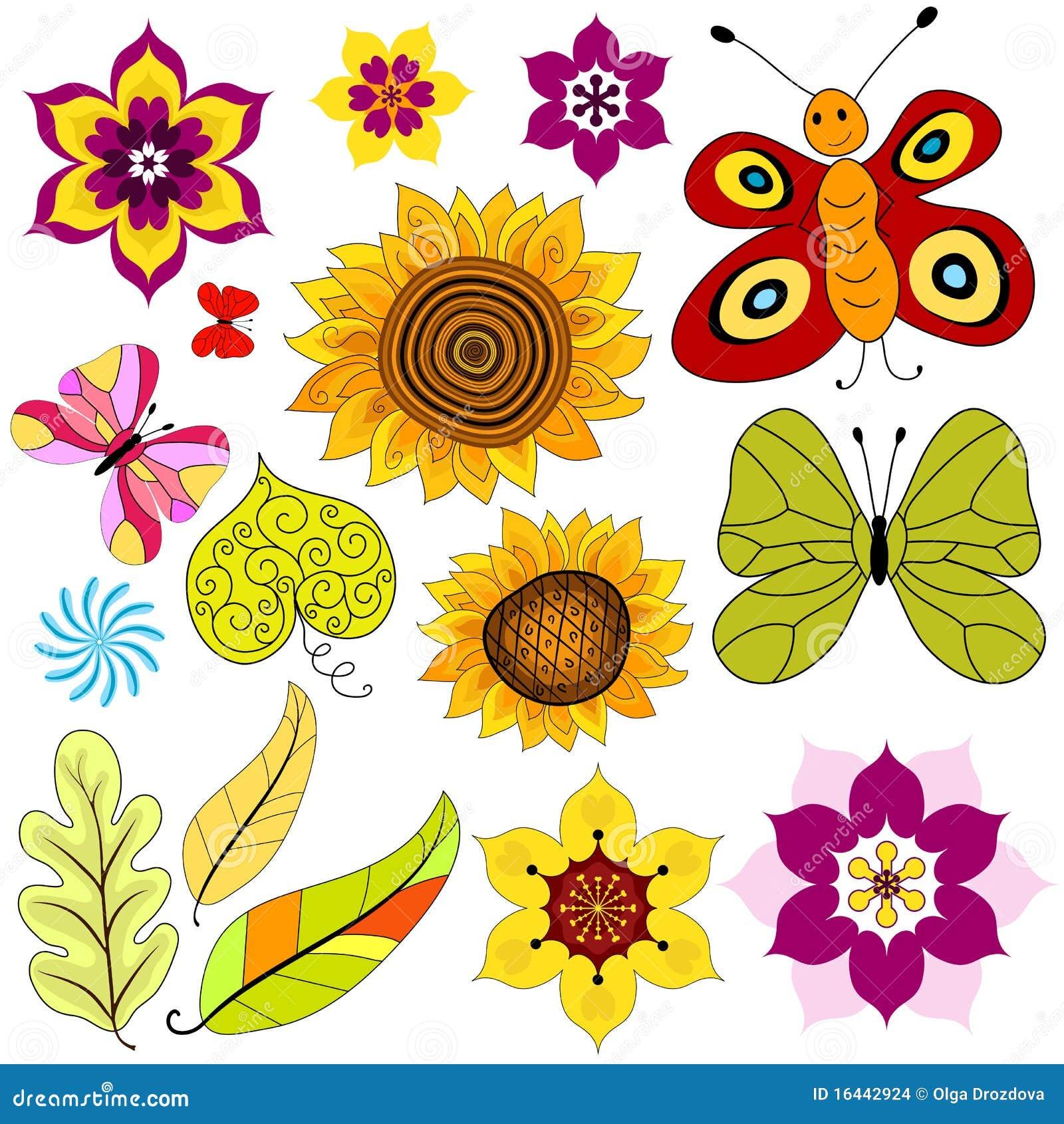 Flores y mariposas aisladas decorativas determinadas - Fotos decorativas ...