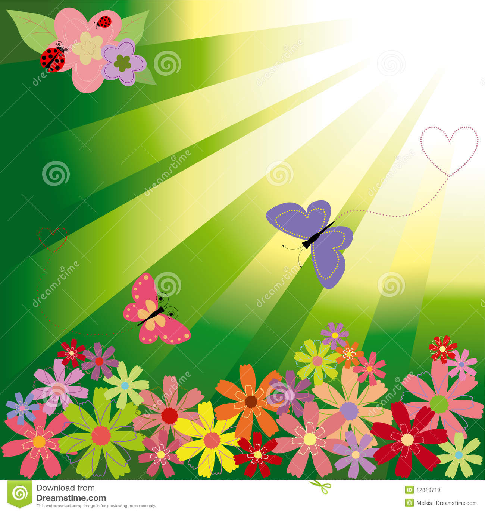 Flores Y Mariposas De La Primavera En Luz Verde Ilustracion Del