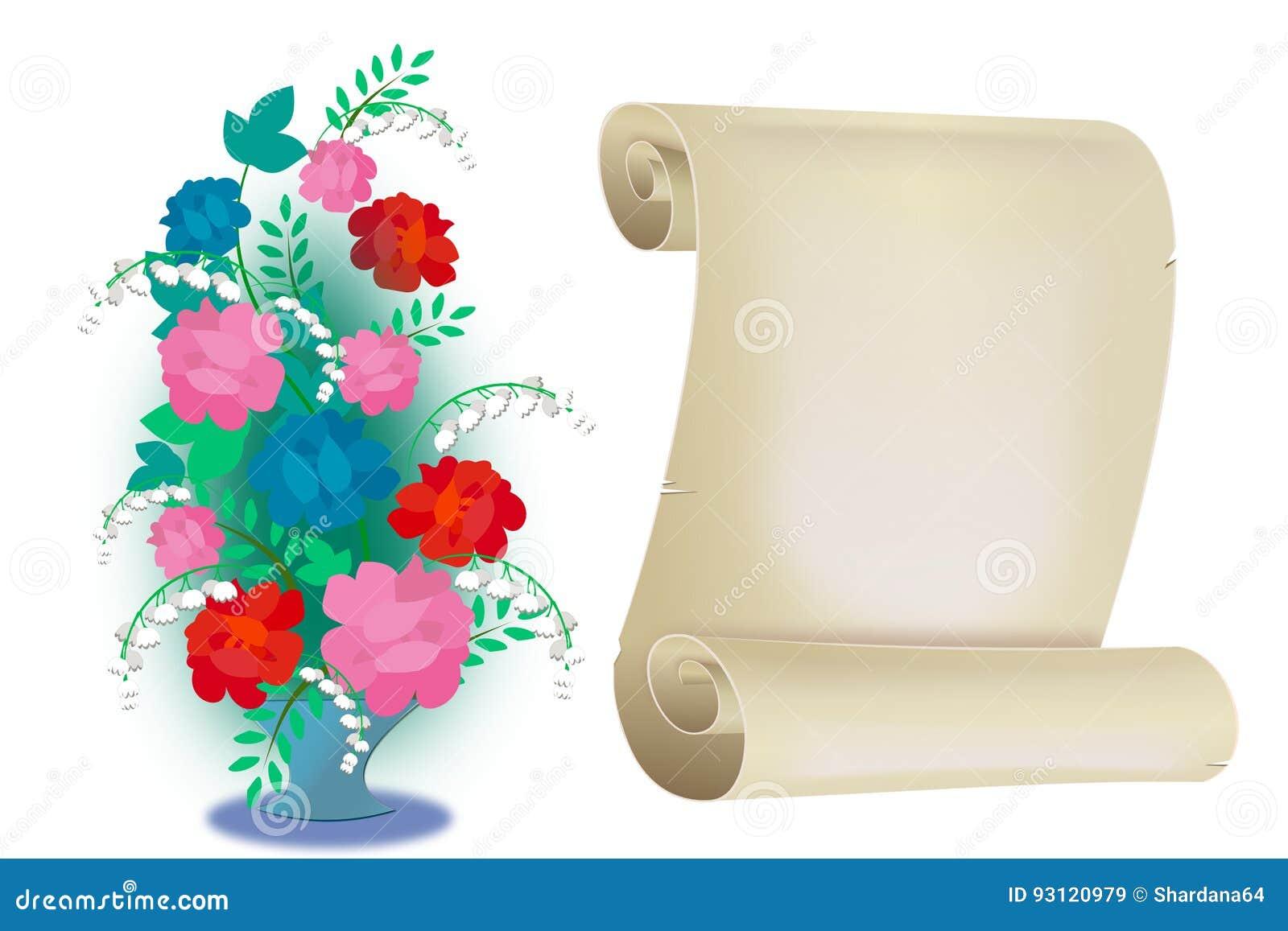Flores Y Mensajes Imagen De Archivo Ilustracion De Rosas 93120979