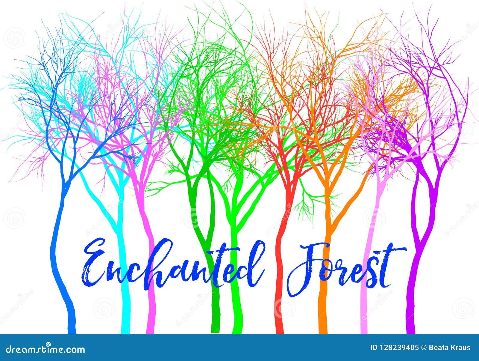 Floresta com árvores coloridas, vetor