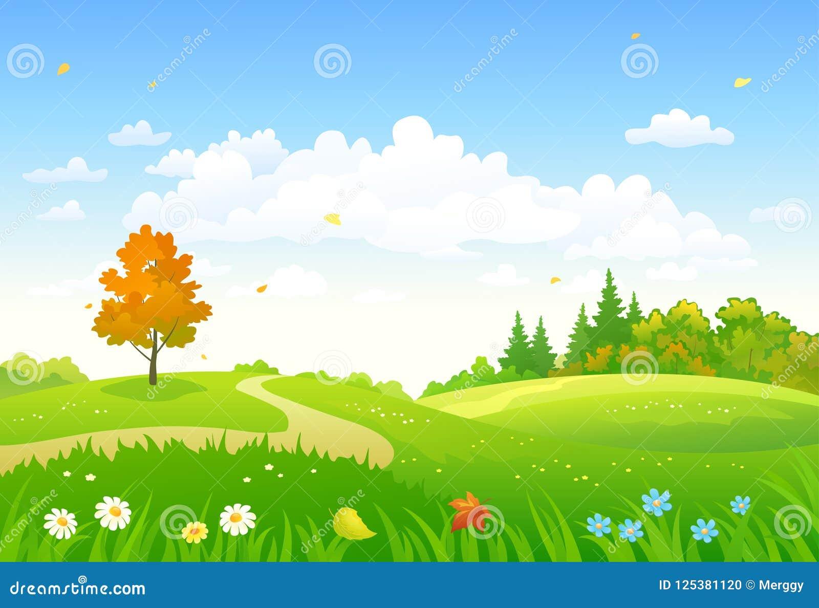 Floresta Da Queda Dos Desenhos Animados Ilustracao Do Vetor