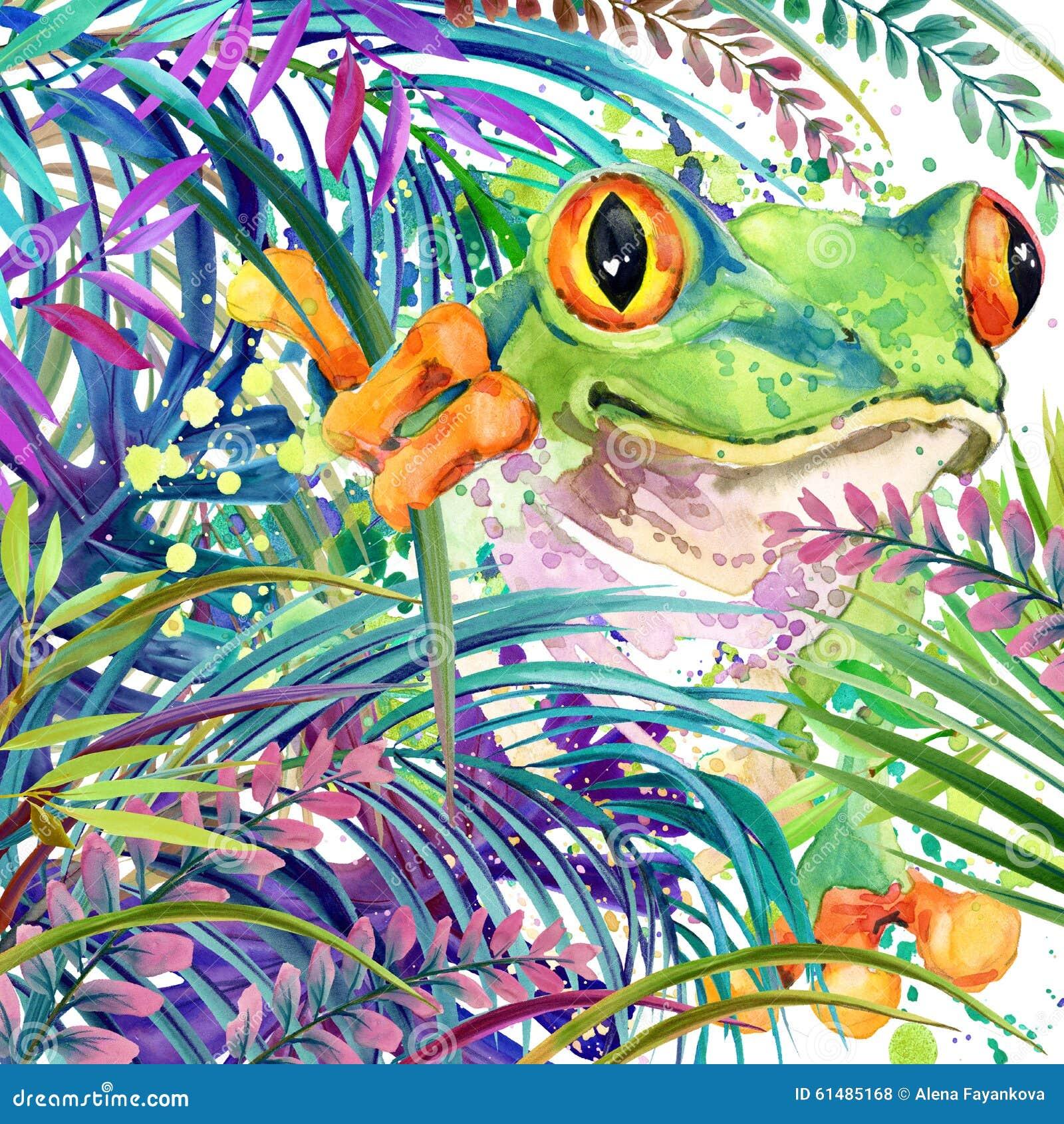 Floresta exótica tropical, rã tropical, folhas verdes, animais selvagens, ilustração da aquarela