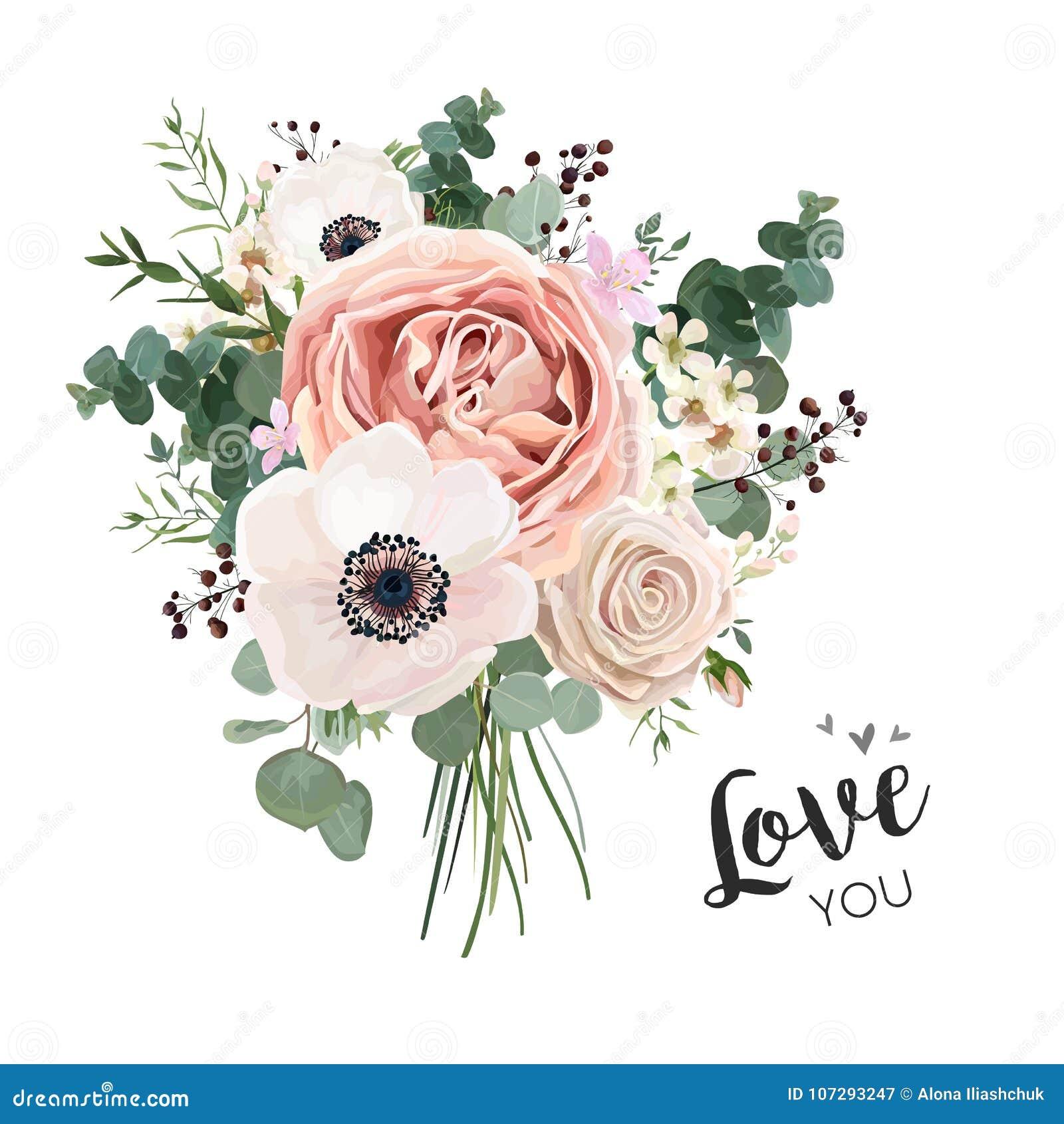 Florezca el manojo floral del ramo, objeto del diseño del boho del vector, elemento