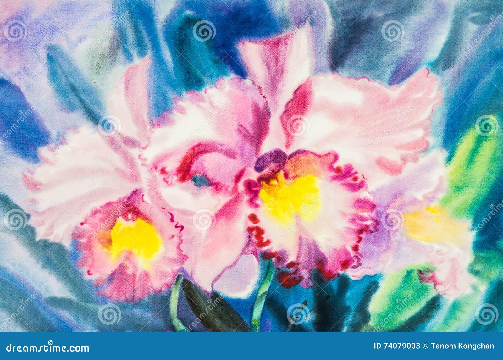 Florezca La Acuarela Original Que Pinta El Color Púrpura, Rosado De ...