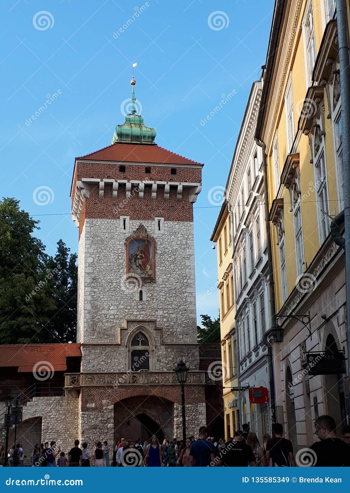 Florian brama przez ścian miasto Krakow Polska