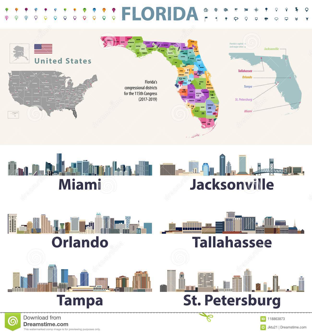 Florida Major Cities Map.Florida S Congressional Disctricts Vector Map With Cityscapes Of