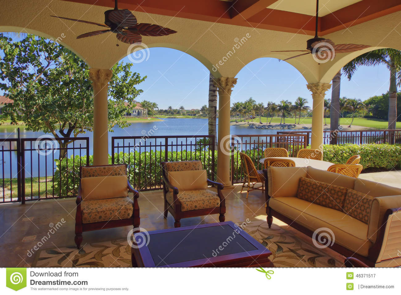 Florida Luxury Home Deck Area With Water View Stock Photo Image 46371517