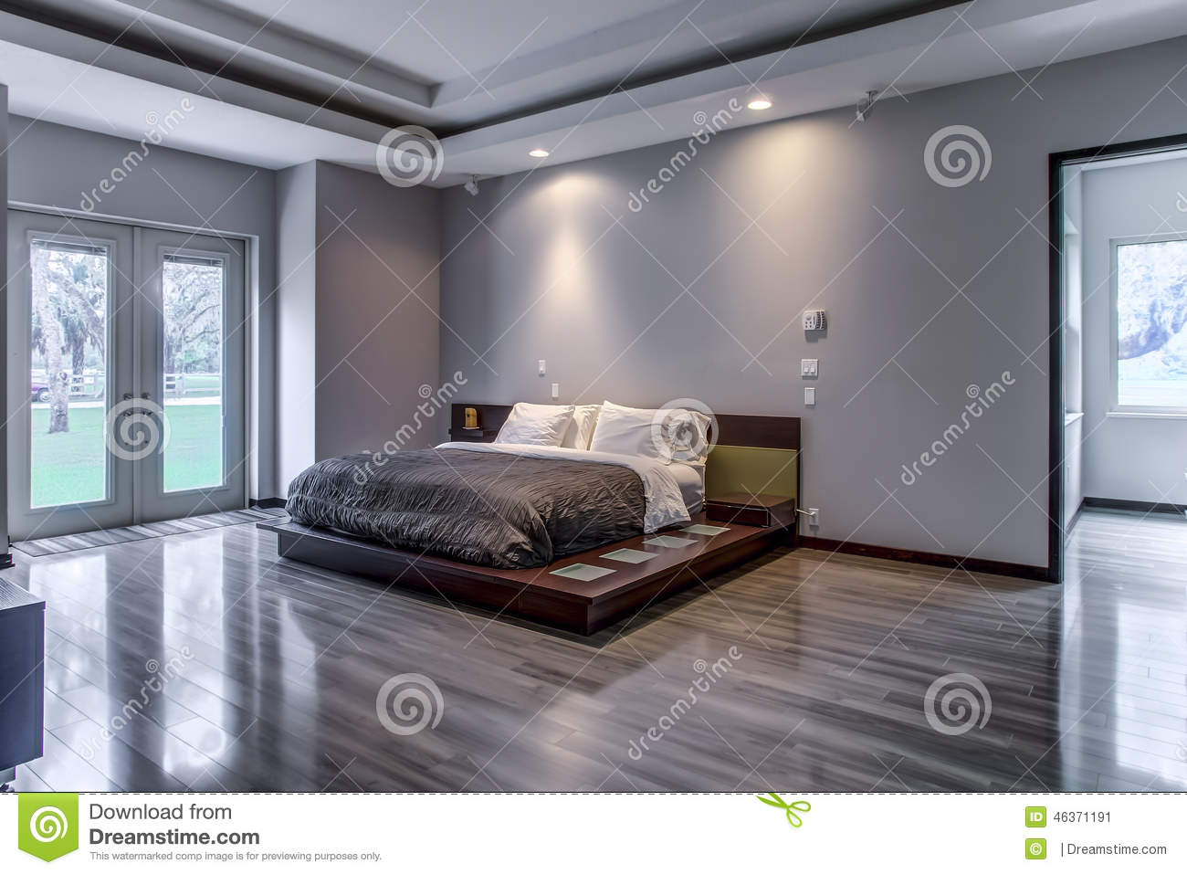 Florida luxury home modern minimalistic bedroom stock image image 46371191 - Houses with bedroom exit to the backyard ...