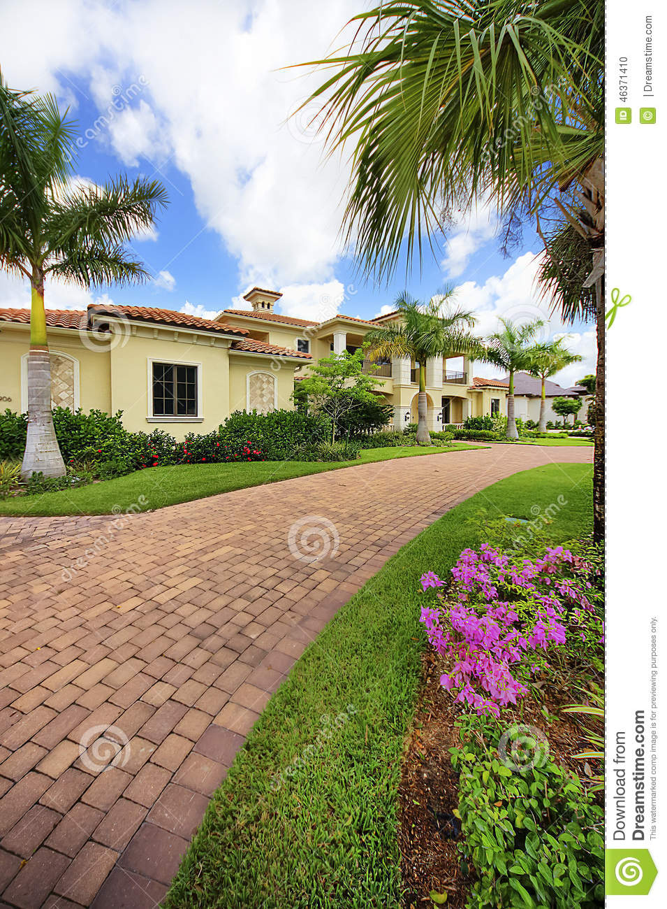 Florida Luxury Home With Pillars Stock Photo