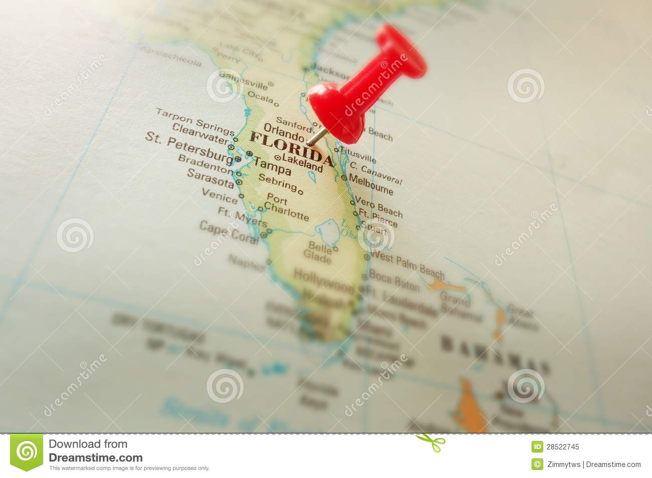 Map Of Florida Near Orlando.Florida Map Stock Image Image Of Tropical Locate Macro 28522745