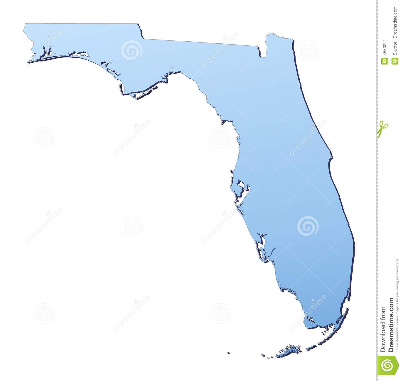 Florida map filled with light blue gradient. High resolution. Mercator ...