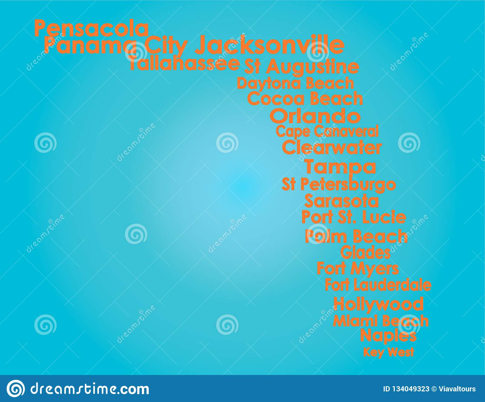 Florida Map With Orange Letters On Light Blue Backround Stock Vector