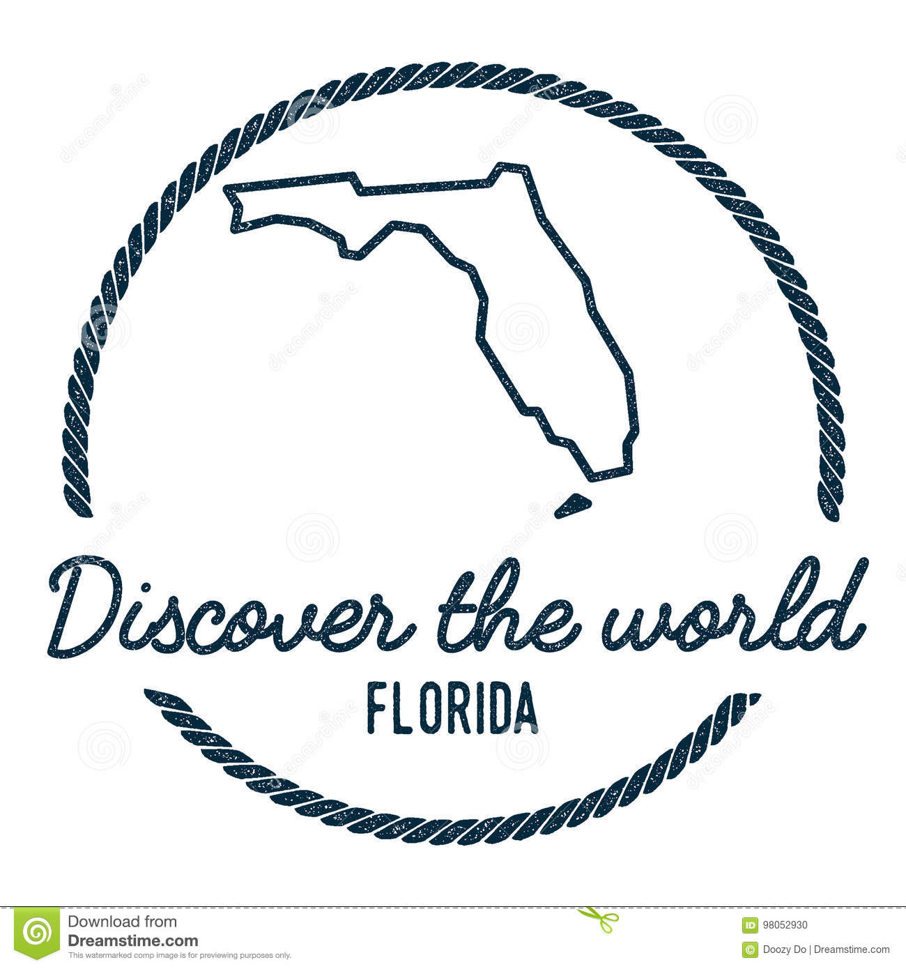 Florida Map Outline Vintage Discover The World Stock Vector