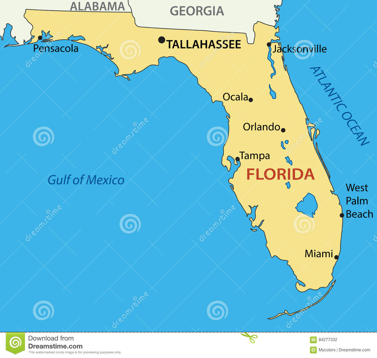 Florida Map Of State.Florida Map Of A State Vector Stock Vector Illustration Of