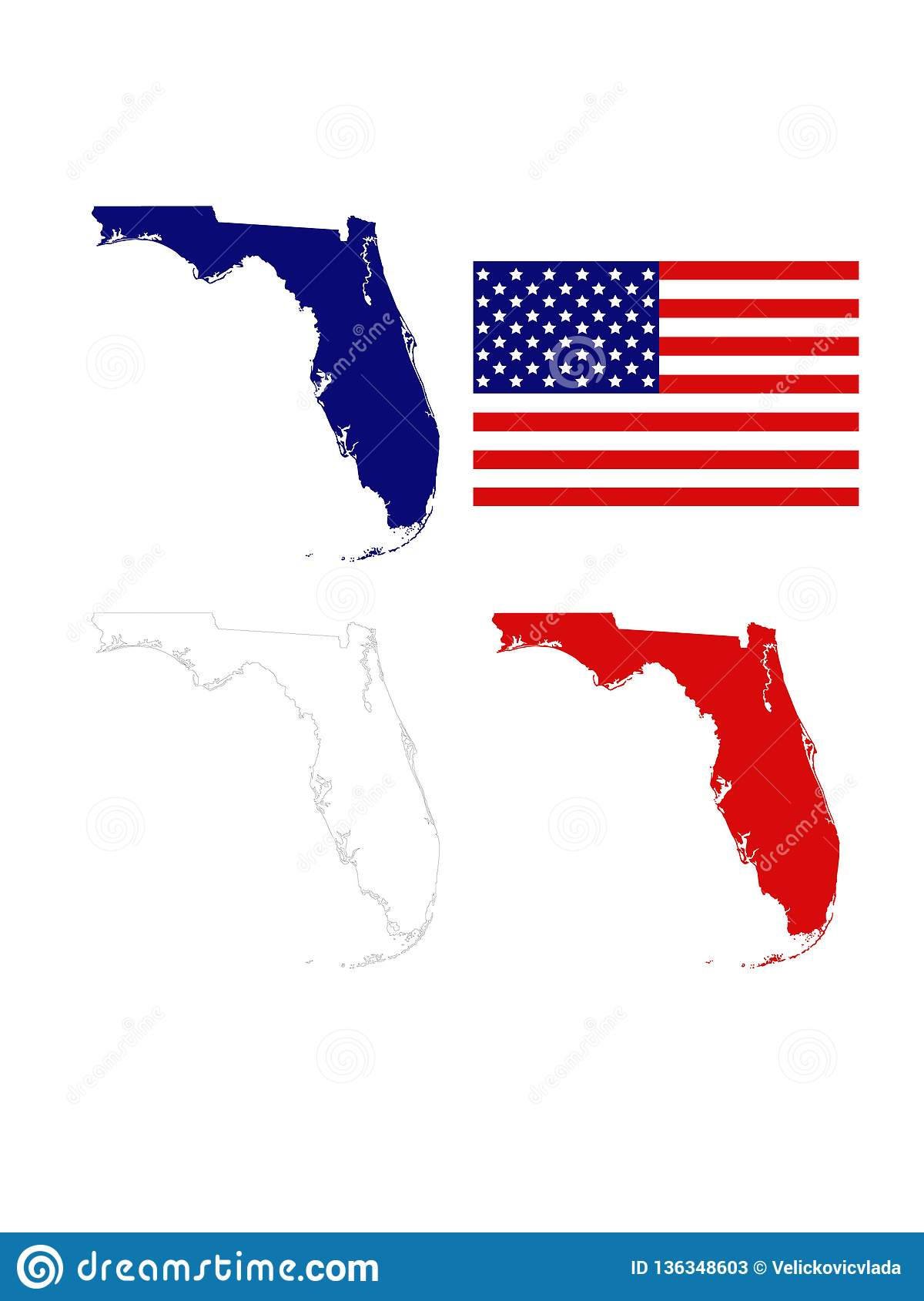 Florida Maps With USA Flag - Southernmost Contiguous State ...